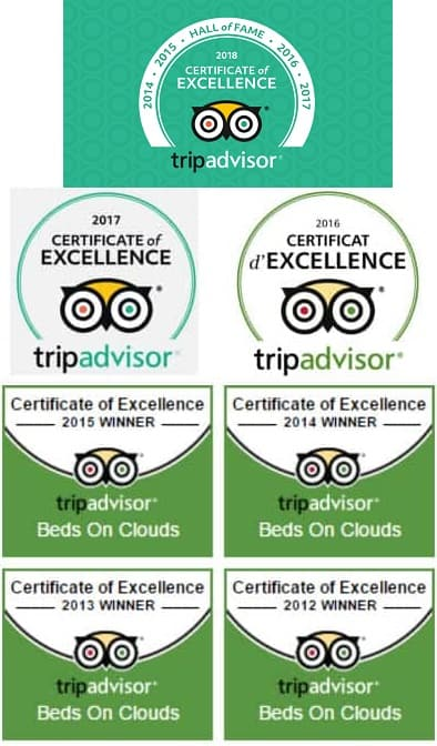 Seven years of Trip Advisor Certificate of Excellence